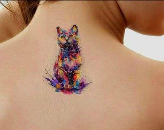 Cat Temporary Tattoo Etsy