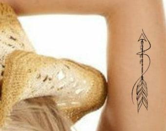 Temporary Tattoo Bohemian Arrow Boho Fake Tattoos Realistic Thin Durable Waterproof