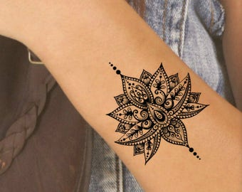 Temporary Tattoo Mandala Lotus Fake Tattoos Realistic Thin Durable Waterproof