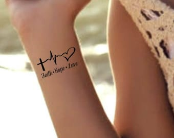 02d80f2007499 Temporary Tattoo Faith Hope Love 2 Waterproof Fake Tattoo Thin Durable  Stocking Stuffer