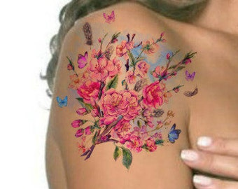 be13a4f1d Temporary Tattoo Vintage Watercolor Flower Ultra Thin Realistic Waterproof  Fake Tattoos
