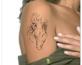 Temporary Tattoo Horse Head Waterproof Ultra Thin Realistic Fake Tattoos