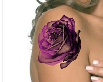 Temporary Tattoo Rainbow Rose Ultra Thin Realistic Large Etsy