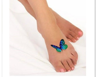 2ef714c4c Temporary Tattoo 3D Butterflies Fake Foot Tattoo Flying Butterfly Thin  Durable Realistic