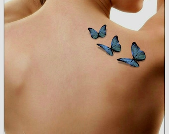 adb987f66 Temporary Tattoo 3D Butterflies Fake Tattoo Flying Butterfly Thin Durable  Realistic