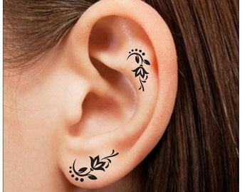 Temporary Tattoo 8 Peacock Feather Ear Tattoos Finger Tattoos Etsy