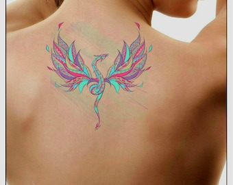 23a1de7876c18 Temporary Tattoo Watercolor Dragon Waterproof Ultra Thin Realistic Fake  Tattoos