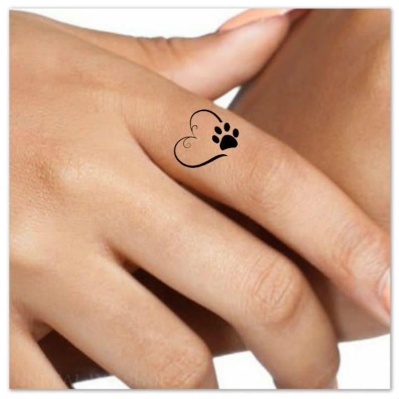 3dbf5008f686e Temporary Tattoo 4 Heart Paw Finger Fake Tattoos Waterproof   Etsy