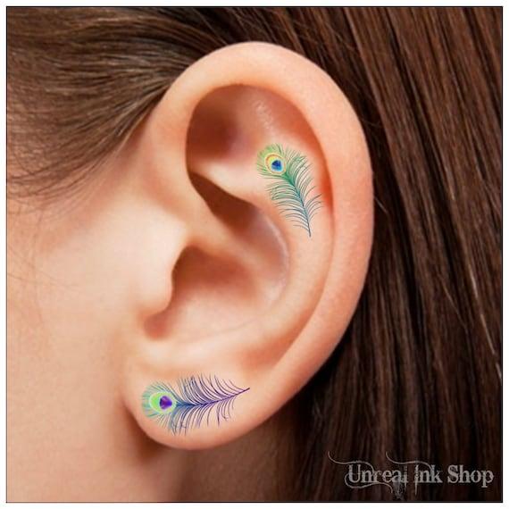 Oído De Pluma De Pavo Real Tatuaje Temporal 8 Tatuajes Etsy