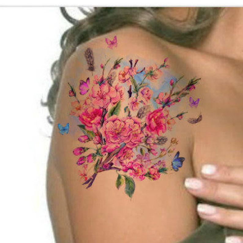 Tatuaje Temporal Vintage Flores Acuarela Ultra Delgada Etsy