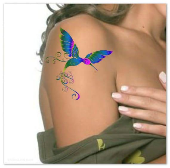 Tymczasowy Tatuaż Koliber Wodoodporny Ultra Cienkie Etsy