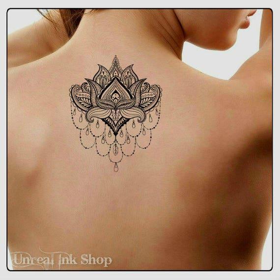 Tymczasowy Tatuaż Mandala Lotus Fałszywe Tatuaże Trwała Etsy