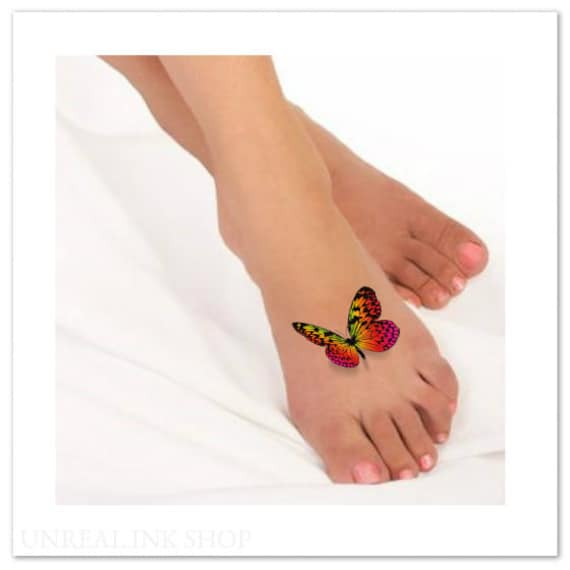 Temporary Tattoo 3d Butterflies Fake Foot Tattoo Flying Etsy