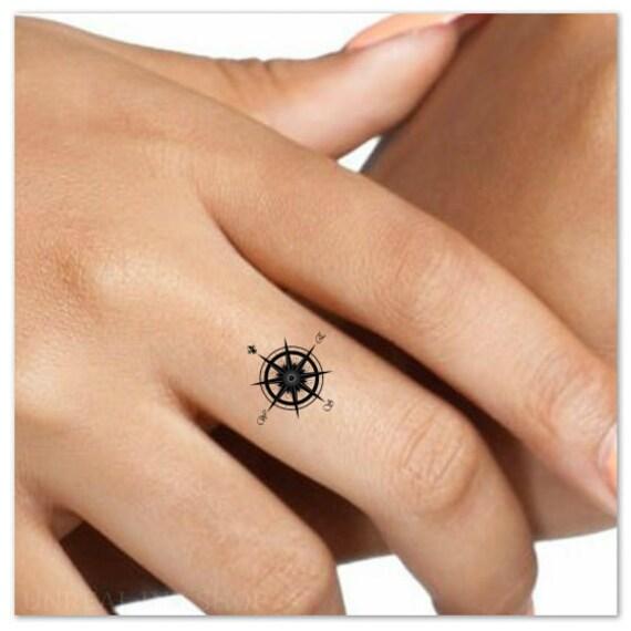 Tatuajes De Tatuaje Temporal Brújula Dedo Falso Impermeable Etsy
