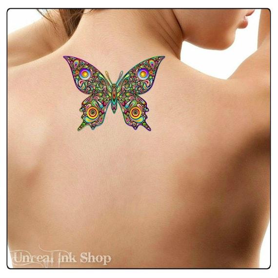 Tymczasowy Tatuaż Motyl Wodoodporny Fałszywy Tatuaż Cienkie Etsy