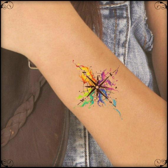 Temporare Tattoo Aquarell Kompass Extrem Dunne Realistische Etsy