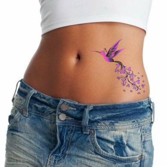 Temporal Tatuaje Colibrí Impermeable Ultra Delgada Realista Etsy