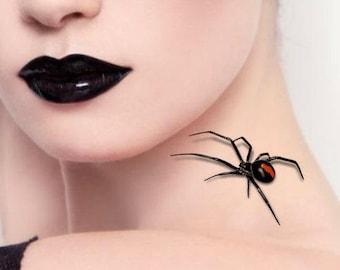 Temporary Tattoo 2 Spiders Halloween 3d Black Widow Fake Tattoos Realistic Thin Durable