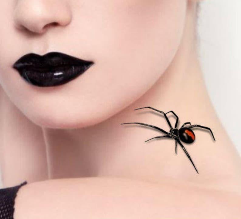 da0893829 Temporary Tattoo 2 Spiders Halloween 3d Black Widow Fake   Etsy