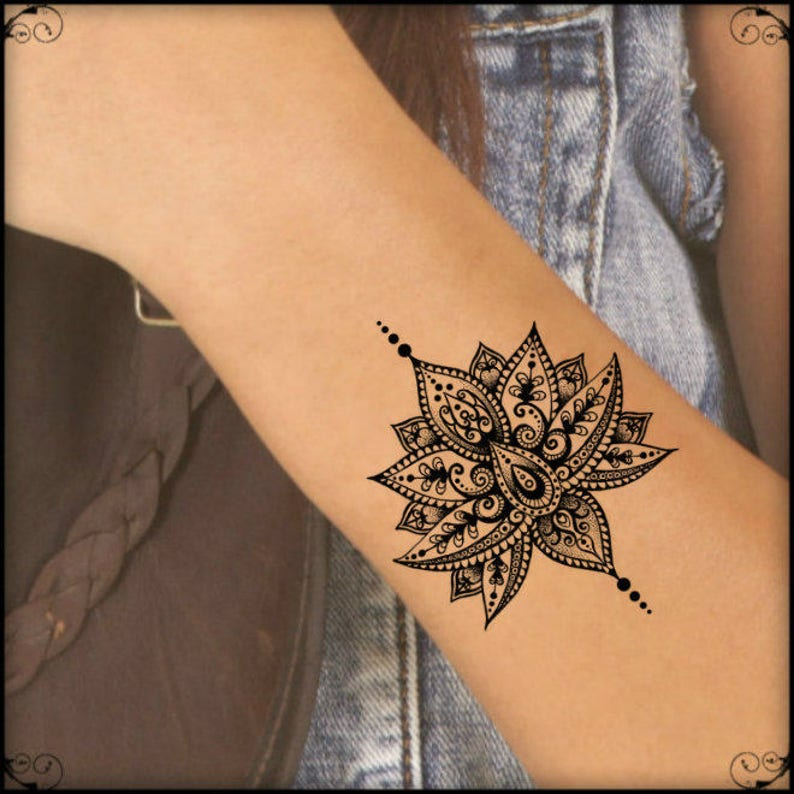 Temporary Tattoo Mandala Lotus Fake Tattoos Realistic Thin image 0