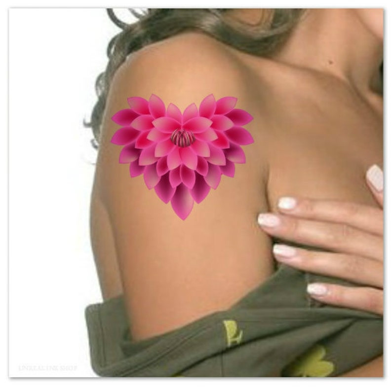 9230221e1f4c0 Temporary Tattoo Pink Flower Ultra Thin Realistic Waterproof | Etsy