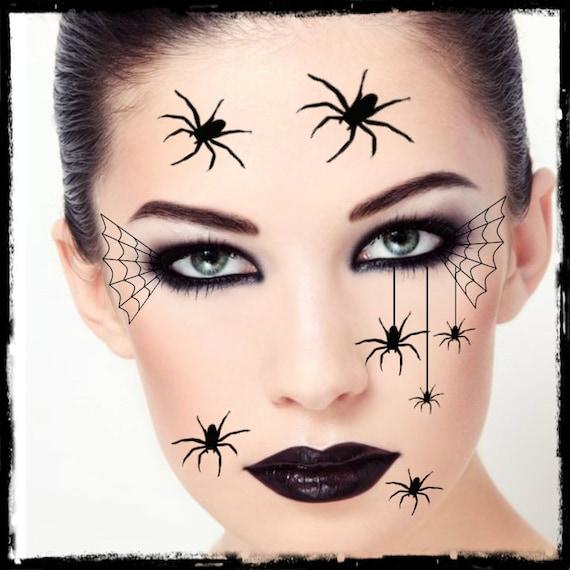 Tatouage Temporaire Araignée Halloween Costume Visage Araignées Faux Tatouages Réalistes Mince Durable