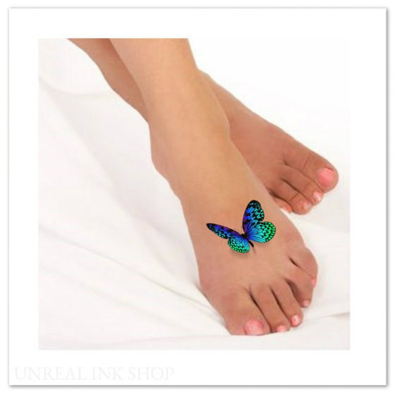 ff2fd360d45ab Temporary Tattoo 3D Butterflies Fake Foot Tattoo Flying | Etsy