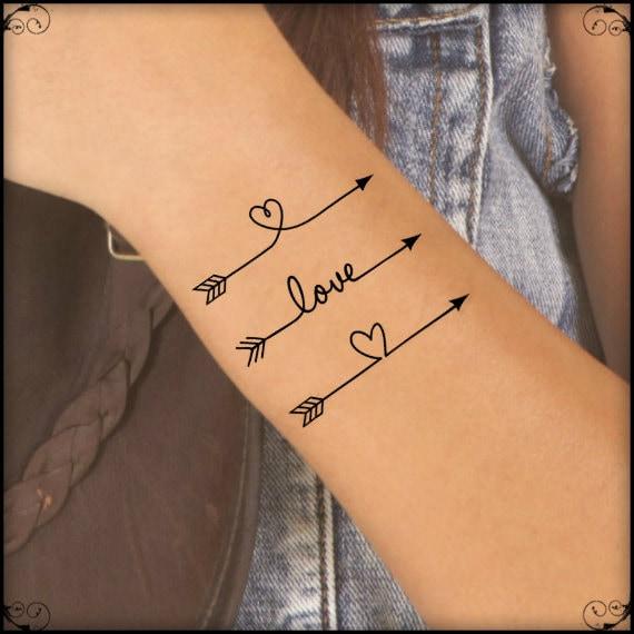 Tatouage temporaire 3 flèche faux tatouage fin Durable résiste à l\u2019eau