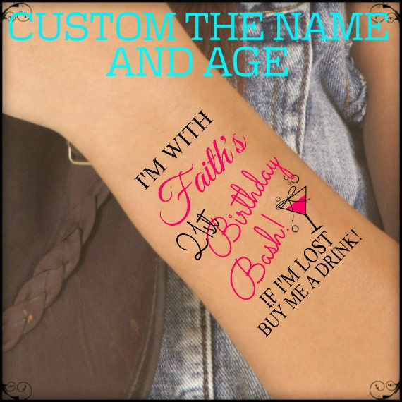 Temporary Tattoo 6 Birthday Party Custom Wrist Tattoos Thin Etsy
