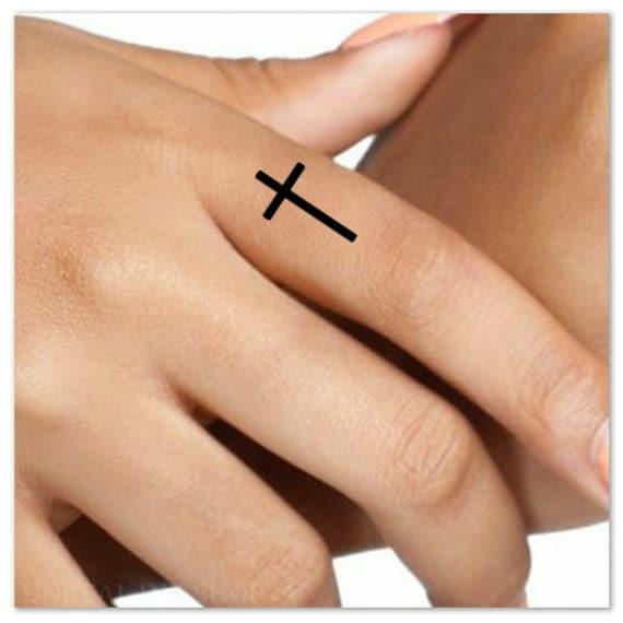 Temporary Tattoo Cross Finger Fake Tattoos Thin Durable Etsy