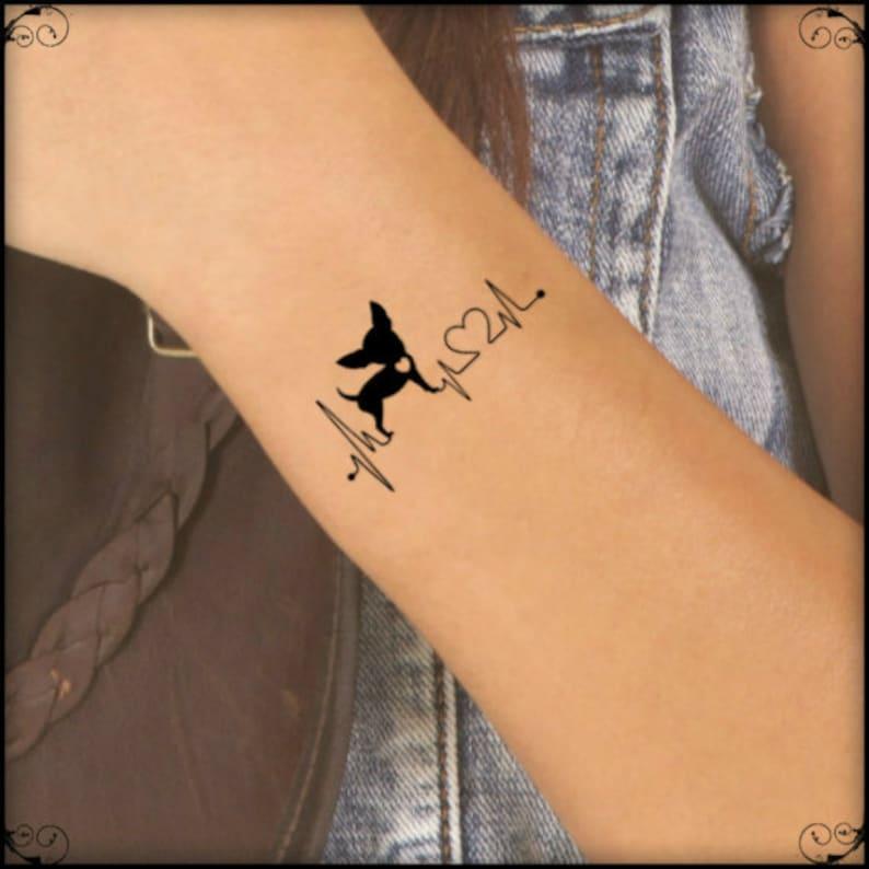 87d296792 Temporary Tattoo 2 Chihuahua Heart Fake Tattoos | Etsy