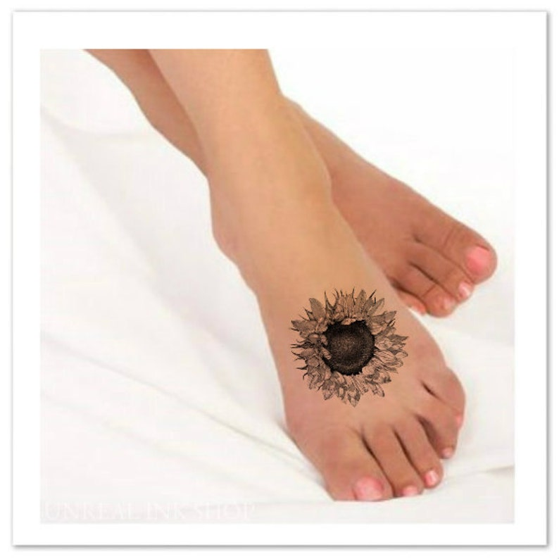 Flower Temporary Tattoo Sunflower Ultra Thin Realistic Large Etsy