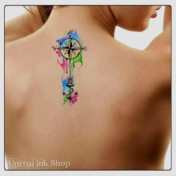 Tymczasowy Tatuaż Akwarela Kompas I Kotwica Morskich Ultra Etsy