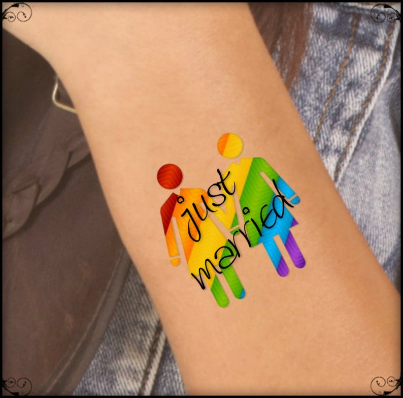 a633588351a55 Temporary Tattoo 2 LGBT Lesbian Just Married Waterproof Fake | Etsy
