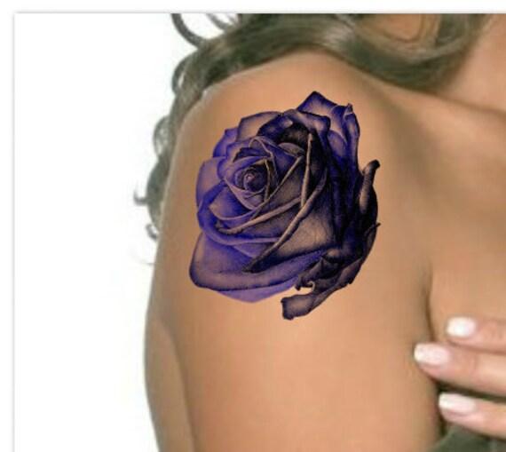 tatouage temporaire rose bleu fleur noire ultra mince réaliste | etsy
