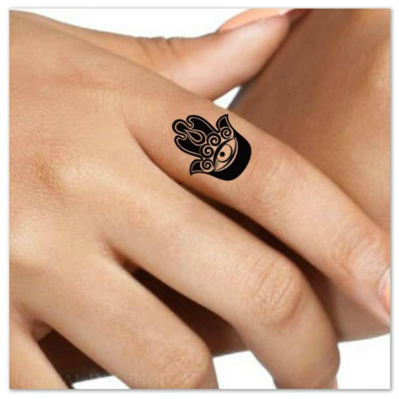 bbc5cfb9d Hamsa Hand Temporary Tattoo 4 Finger Fatima Tattoos | Etsy