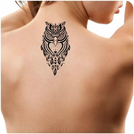 Tijdelijke Tattoo 1 Uil Tattoo Ultra Dunne Body Art