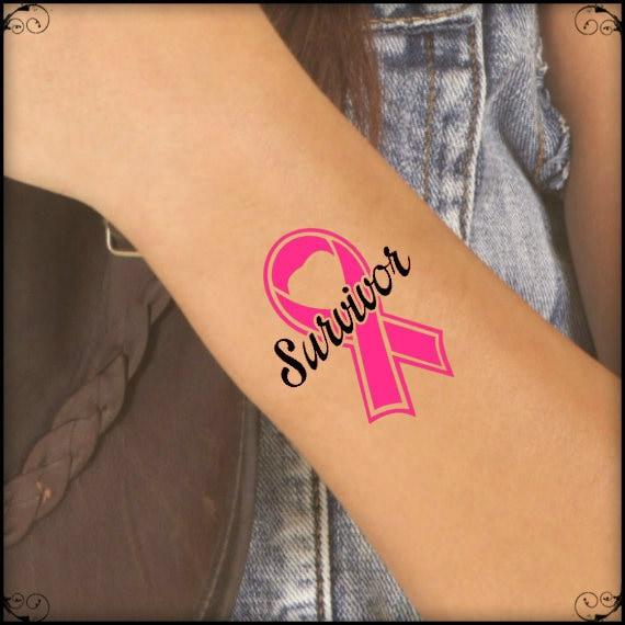 Breast Cancer Awareness Survivor Temporary Tattoo 2 Bca Fake Etsy