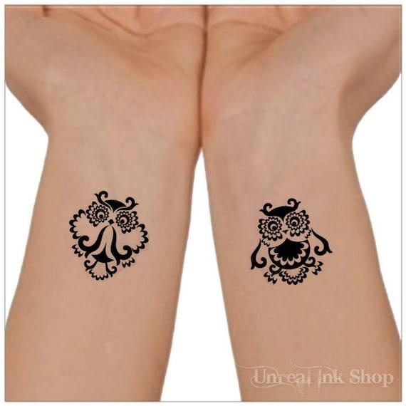 Tätowierung Owl 2 Handgelenk Tattoos Fuß Tattoo Etsy