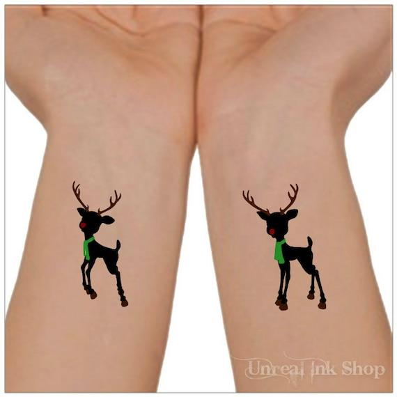 tatouage temporaire noël renne 2 poignet tatouages bas de noël   etsy