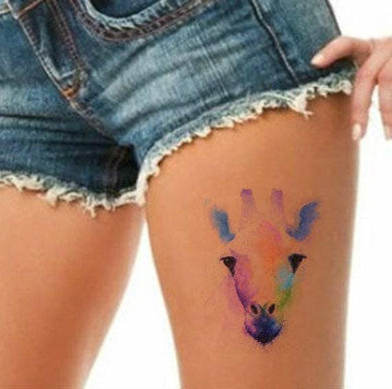 Tymczasowy Tatuaż Akwarela żyrafa Wodoodporny Ultra Cienki Etsy
