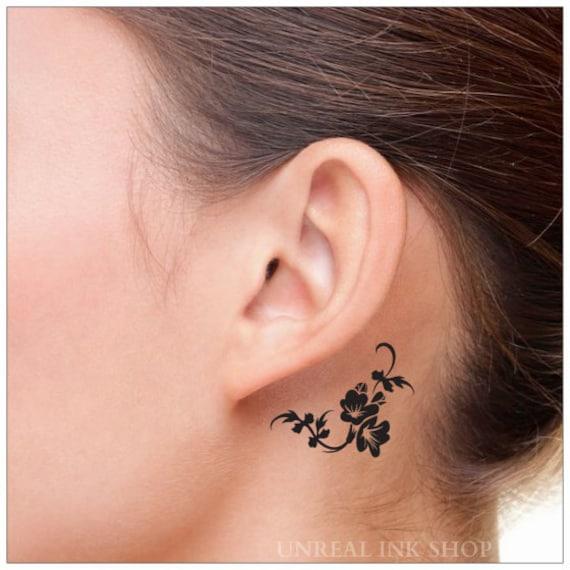 Tymczasowy Tatuaż 2 Kwiat Szyi Tatuaże Etsy