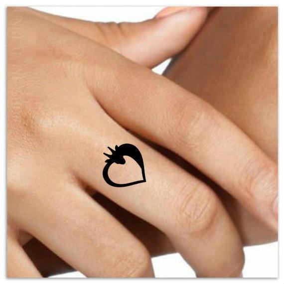 Tatuaje Corazon En El Dedo tatuaje temporal 4 jirafa corazón dedo tatuajes falsos falsos | etsy