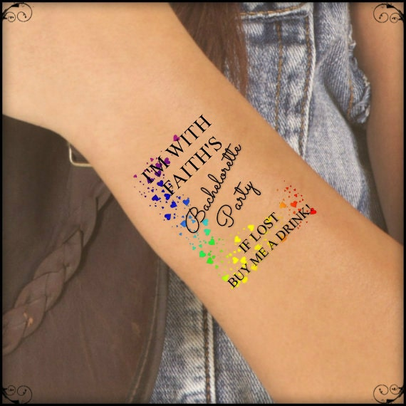 Temporary Tattoo 7 Lgbt Rainbow Bachelorette Party Lesbian Wedding Wrist Tattoos Thin Durable One Free Bride Tattoo