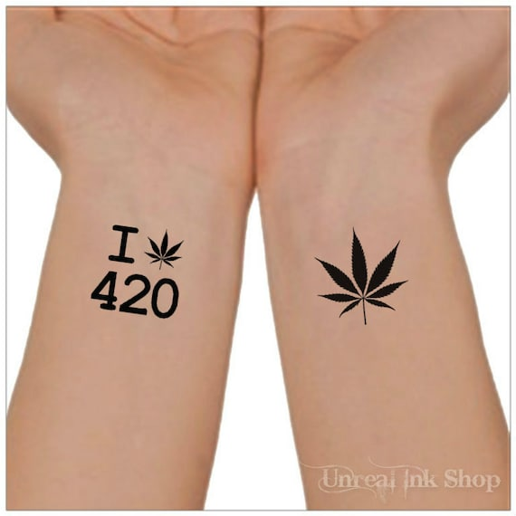 Tatouage temporaire 420 Marijuana Cannabis imperméable à l\u0027eau Ultra Thin  Real Fake Tattoos