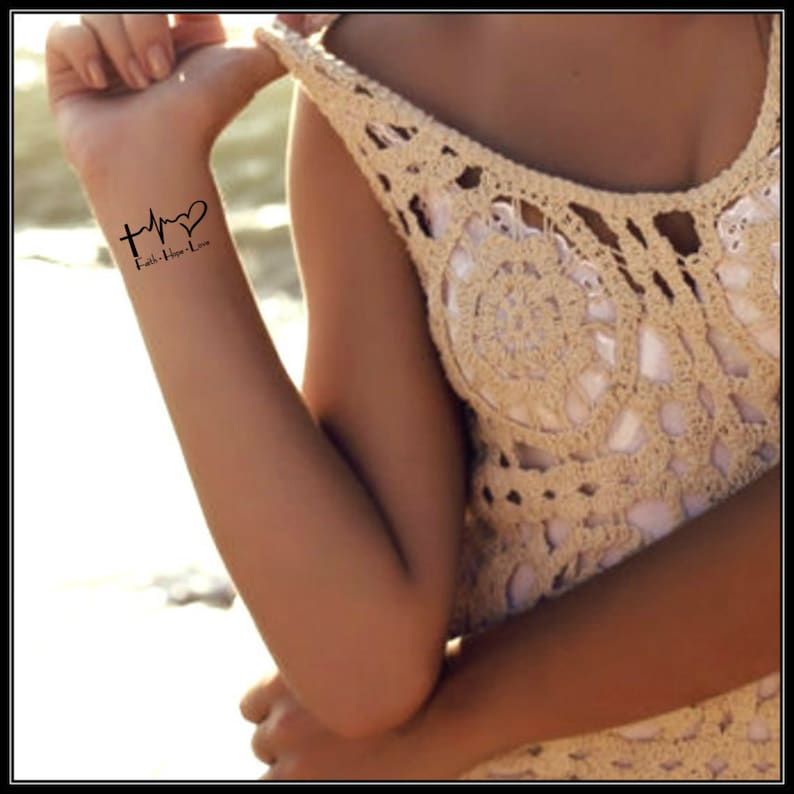 Temporary Tattoo Faith Hope Love 2 Waterproof Fake Tattoo Thin Durable