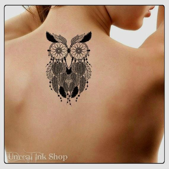 Tatouage Temporaire Owl Dreamcatcher Impermeable A L Eau Etsy