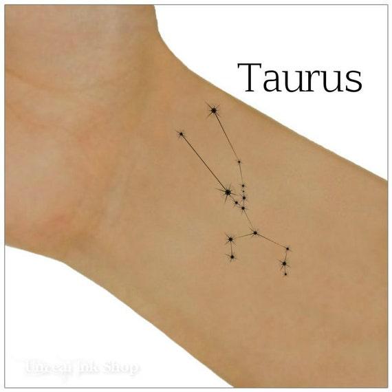 Zodiaco Tatuaje Temporal Estrellas De La Constelación Tauro Etsy