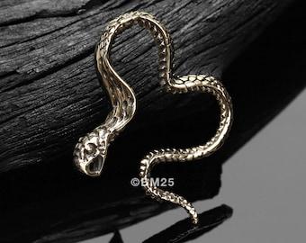 A Pair Of Vicious Cobra Snake Swirl Golden Brass Hoop Ear Weight Hanger