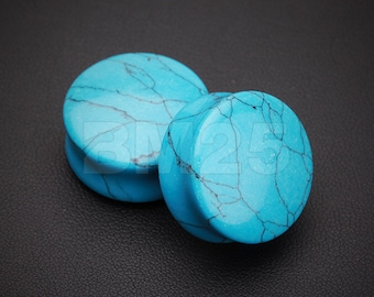 A Pair of Turquoise Stone Double Flared Ear Gauge Plug